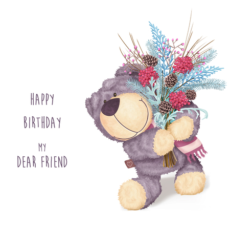 tarjeta de felicitación de cumpleaños feliz con el oso y el ramo de invierno. tarjeta de felicitación divertida infantil. Ilustración de vector