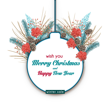 Winter sale tour modèle. silhouette boule de Noël et le bouquet d'hiver avec le bâton de sapin, des cônes et le sorbier.
