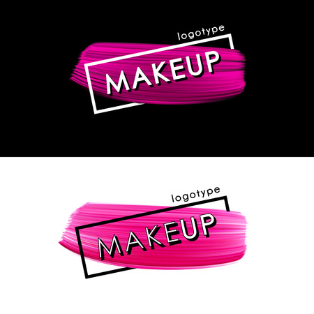 Makeup pink smear logo template isolated on dark and white background. Paint brush vector shape acrylic smear. 向量圖像