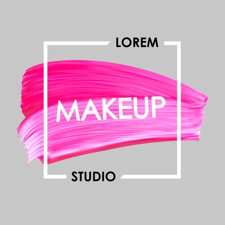logotipo del estudio del maquillaje y el lápiz labial de color rosa vector de frotis en el marco.