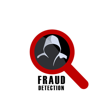 detection: Hacker detection sign and man in hood. Fraud investigation vector icon