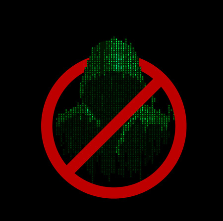 stealing data: Fraud prevention sign vector. Hacker protection icon for cyber security systems. Illustration
