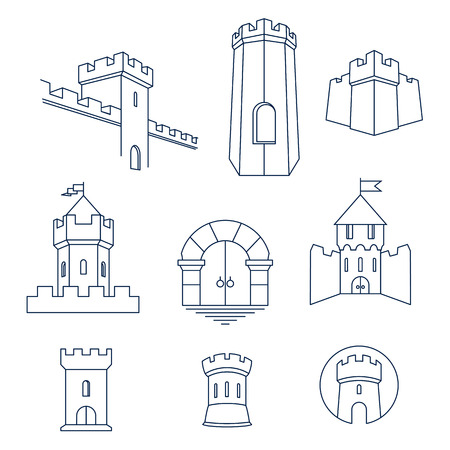 Castle tower, turret, kingdom fortress and castle gate vector line art icon set