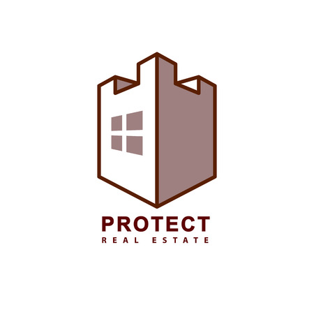 simple logo: Protect system real estate vector logo. Castle tower with window and shield simple icon.