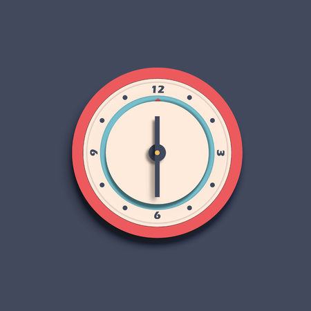 Round wall numeral isolated vector clock