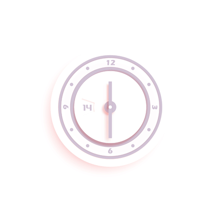 White stylized vector wall clock isolated on white background