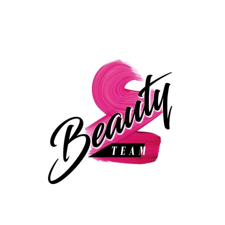 Schoonheid team letters en lippenstift roze mark textuur kunst ontwerp voor vrouw visitekaartje of logo. Logo