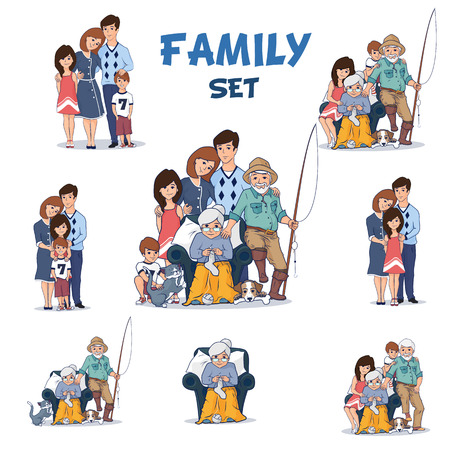 two parent family: Full Family set. Grandparents and children hugging together. Two children, Mother and Father.