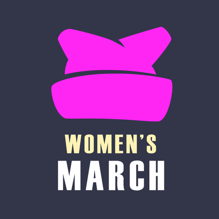 Women march protest pink banner design vector illustration. Pink cap silhouette women march symbol.