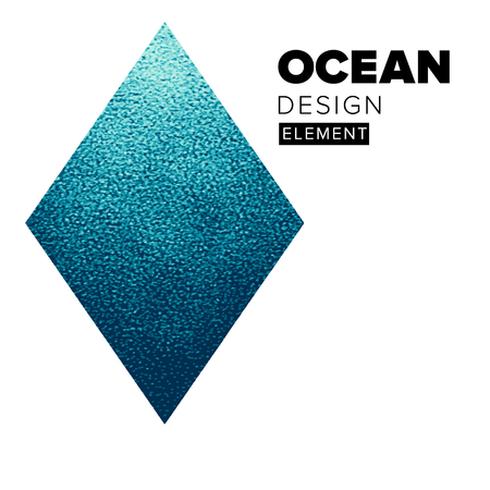 Geometric blue ocean water rhombus element for media banners for booklet covers, flyers, poster, placards and social media banners