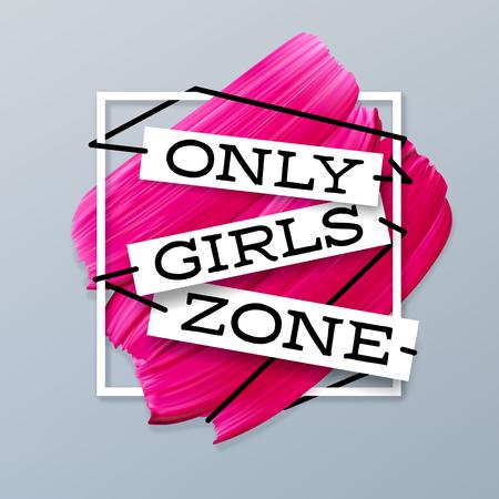 Seule la bannière de vecteur fond rouge à lèvres rose zone filles dans le cadre Vecteurs