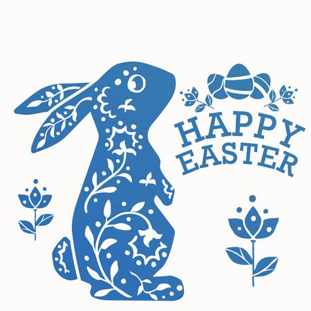 Uitstekend Pasen-Konijn die omhoog met ornamentbloemen, bladeren en eieren kijken. Happy Easter vector afdrukbare illustratie voor de wenskaart.