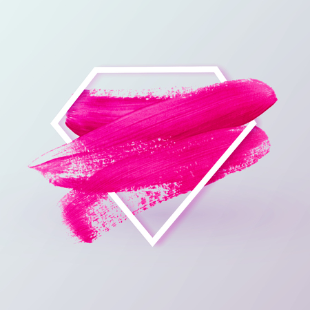 Pink abstract brush paint textured smear vector background in diamond shape. Female sign symbolized super girl power, with text space.