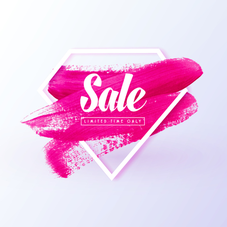 Sale girly banner. Pink brush paint textured background like lipstick mark in diamond shape symbolized women protest, girl power, best offer, are suitable for womens goods store web banner