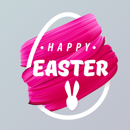 Happy Easter pink girly background in abstract egg silhouette. Vector illustration