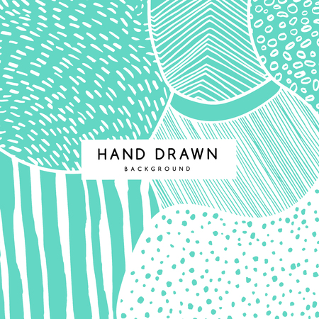 Hand drawn pattern, vector green floral texture. Abstract artistic doodle lines and dots background.