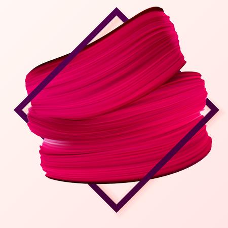 Promotie aanbieding met rode lippenstift mark in frame. Cosmetica, make-up, mode girly banner. Vector illustratie gebruikt in de nieuwsbrief, brochures, poster, flyer, advertenties, vouchers. Stock Illustratie