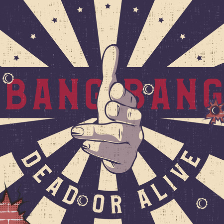 Bang-bang hand gun gesture sign, Vintage explosion background. Shooting fingers pointing on camera (viewer).