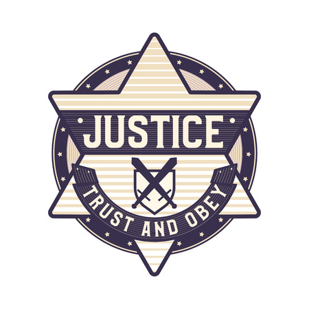 Justice icon, trust and obey symbol, star sheriff logo concept symbolized law and order. 向量圖像