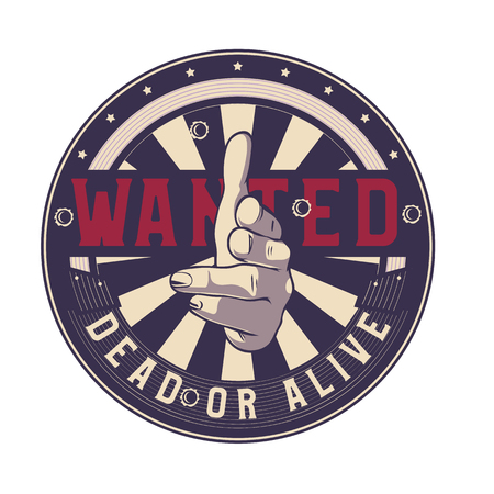 Wanted dead or alive vector sign, gun hand gesture. Shooting fingers pointing on camera (viewer).