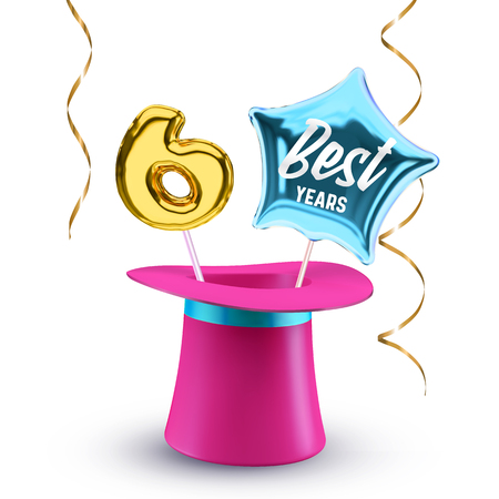 Six best Years anniversary vector banner with pink magic hat, balloon number 6 and star for congratulations or party.