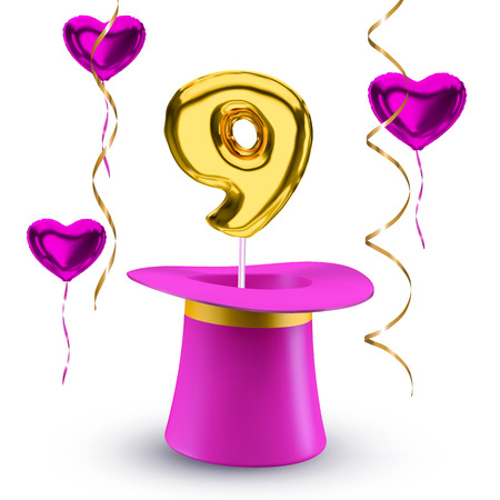 Pink flying hearts and magic hat with golden balloon vector number 9 isolated on white background. Nine-year anniversary poster design concept.
