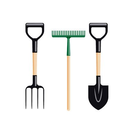 Garden tools. Fork, rake and shovel, isolated on white flat vector illustration