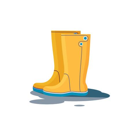 Botas de goma amarillas para el icono de caída o el mal tiempo, aisladas sobre fondo blanco. Ilustración vectorial plana