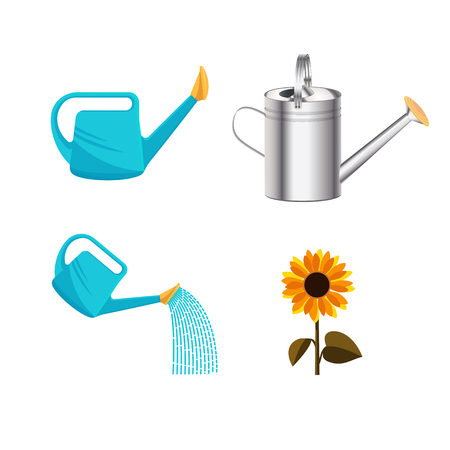Garden watering plastic and metallic can isolated on white background, water plants. Flat Vector clipart