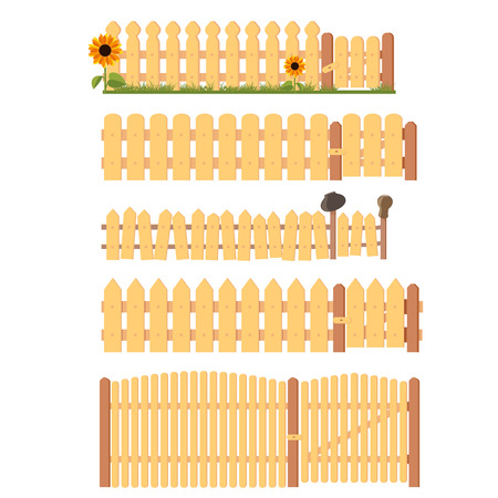 Rustic wooden cartoon fences vector set. Fence with gate, grass, flowers and rural clay pots, isolated on white.