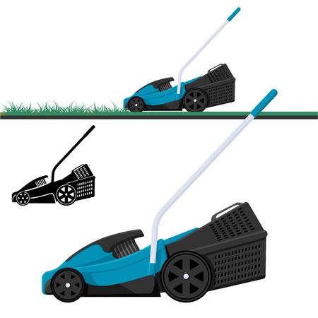 잔디 깎는 기계 절단 잔디, 격리 된 벡터 일러스트 레이 션. 잔디 깎는 사람 검은 실루엣.