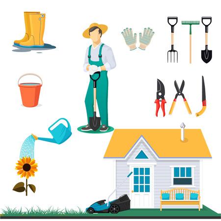 Garden tools isolated on white background. Working Gardener, garden house and utensils vector illustration.