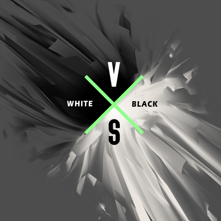 Black and white versus abstract background. Opposition of white and black energy, the collision of good and evil, light and dark, vector illustration. Ilustração