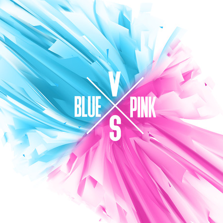 principles: Blue and Pink color versus abstract background. Balance of masculine and feminine principles. Confrontation between man and woman concept illustration.