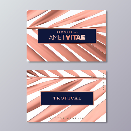 Rose Gold Palm Foil business card templates.