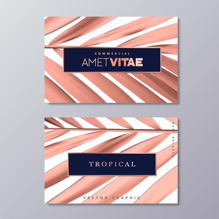 Sjablonen voor visitekaartjes van roségoud palmfolie.
