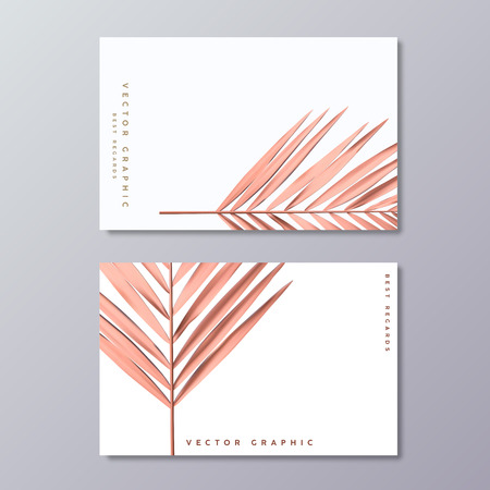 Rose Gold Palm Foil business card templates. Minimalist postcard design. Tropical florals and foliage, botanical, bohemian decoration.