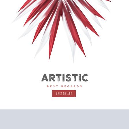 Element van het rode kleuren het abstracte Bloemenontwerp. Kunst vectorillustratie, sjabloon voor spandoek. Bloem close-up decoratie Stock Illustratie