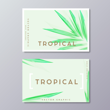 Herbal medicine or spa treatment business card templates. Tropical green lush foliage, botanical, bohemian design. Abstract Palm leaves decoration.