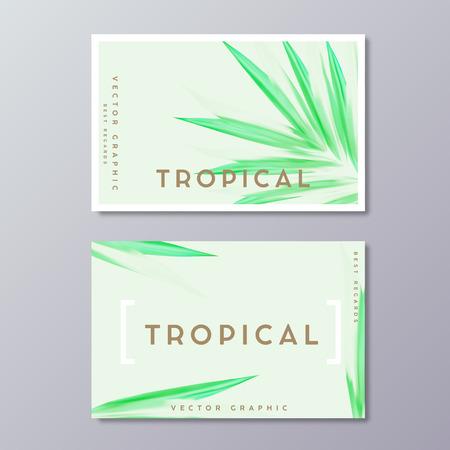 Sjablonen voor visitekaartjes voor kruidengeneeskunde of spabehandeling. Tropisch groen weelderig gebladerte, botanisch, Boheems ontwerp. Abstracte palmbladendecoratie.