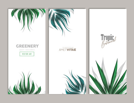 Green Floral Summer design vertical banner set. Vector illustration. Tropic botany decoration for greeting cards, gift vouchers, invitations Çizim