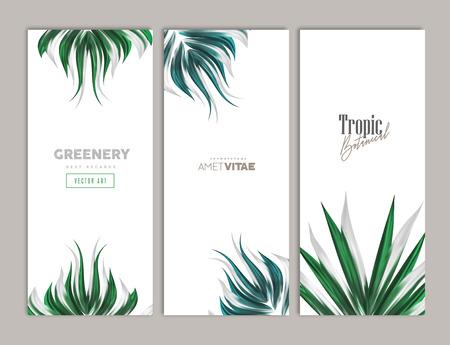 Groene bloemen zomer verticale banner ontwerpset. Vector illustratie Tropische plantkunde-decoratie voor wenskaarten, cadeaubonnen, uitnodigingen