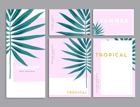 Roze en groene tropische palm verlaat huisstijl sjabloonontwerp. Zakelijke briefpapier. Vector illustratie Stock Illustratie
