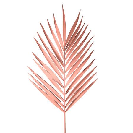 Tropisch palmblad dat op witte achtergrond wordt geïsoleerd. Gouden roze palmvarenblad vectorillustratie.