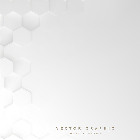 Hexagon white background, 3d geometric minimalistic design, Vector graphic.