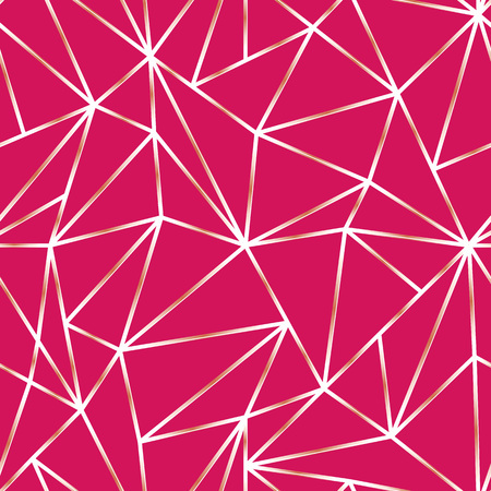 Geometric Seamless Pattern. Abstract Fuchsia Polygonal background. Triangle Vector Mosaic backdrop.