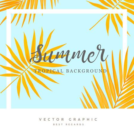 Zomer vector achtergrond. Tropische palmbladeren. Gele en blauwe zomer banner. Stock Illustratie