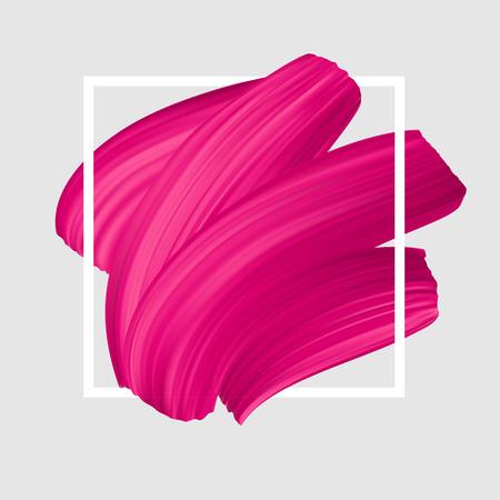 Frotis de lápiz labial rosa vector. Logotipo femenino femenino. Trazo de pincel en el marco, plantilla de banner.