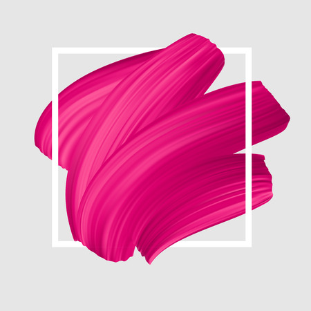 Pink vector lipstick smear. Female girly logo. Paint brush stroke in frame, banner template.