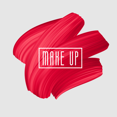 Red brush painted smear for makeup logo. Vector beautiful brushstroke, female girly banner. Red Lipstick Mark.